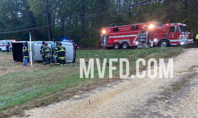 No Injuries Reported After Single Vehicle Rollover in Mechanicsville