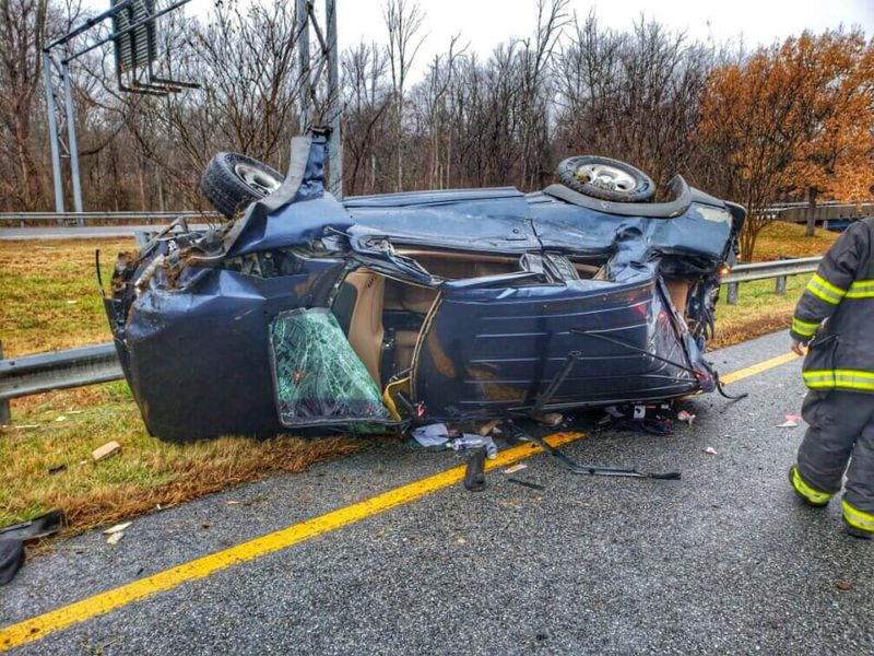 One Injured After Single Vehicle Rollover in Dunkirk