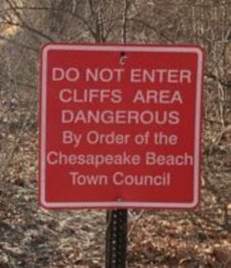 Town of Chesapeake Beach – Press Release on Cliff Collapse South of Bayfront Park/Brownies Beach