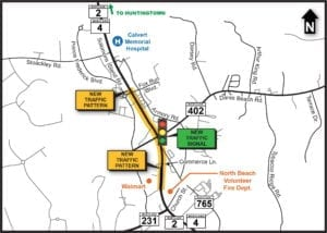MDOT SHA Adding Third Travel Lane and New Traffic Signal on Southbound Route 2/4 in Prince Frederick