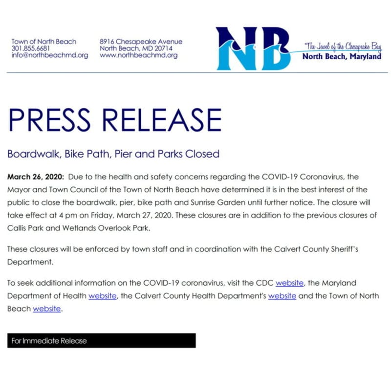 North Beach Boardwalk, Bike Path, Pier and Parks Closed in Calvert County, Effective Today at 4:00 p.m.