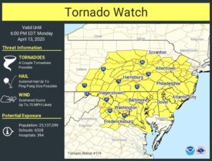 U.S. National Weather Service has Issued a Tornado Watch for All of Southern Maryland