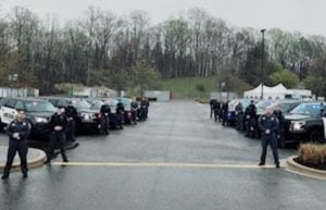 Calvert Deputies Held a 'Rolling Roll Call' at the Calvert Health Medical Center for Deputy who Tested Positive for COVID-19