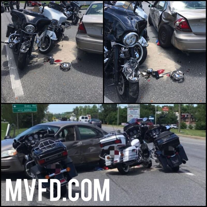 Two Transported to Area Trauma Center After Three Motorcycles Collide with Vehicle in Charlotte Hall
