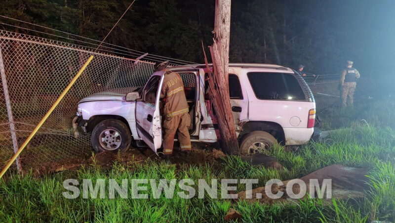Minor Injuries Reported After Vehicle Strikes Utility Poles and Security Fence in Lexington Park