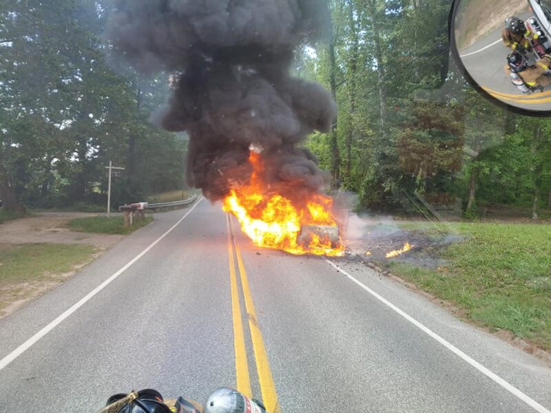 No Injuries Reported After Vehicle Fire in Chaptico