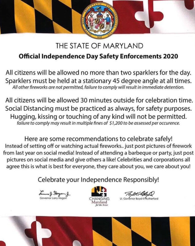 Maryland State Fire Marshal Warns of Fake Online Poster Referencing Independence Day Celebrations, Guidelines, and Social Distancing