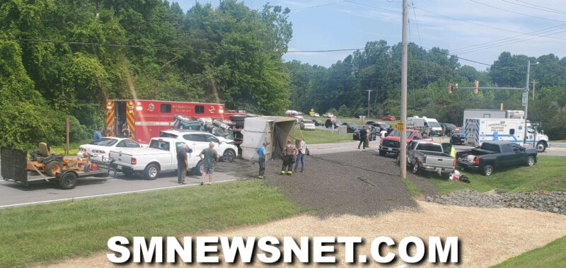 Two Injured, One Flown to Trauma Center After Dump Truck Overturns Into Multiple Vehicles in Mechanicsville