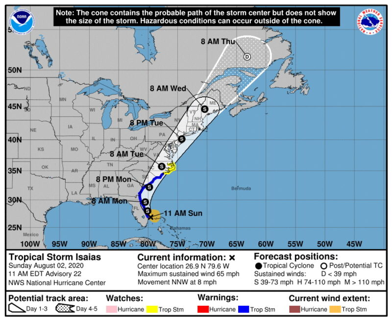Southern Maryland to Prepare for Effects from Tropical Storm Isaias