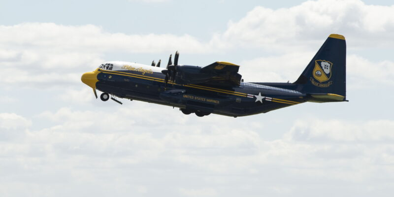 """U.S. Navy and Blue Angels Flight Squadron Receives """"New"""" C-130J"""