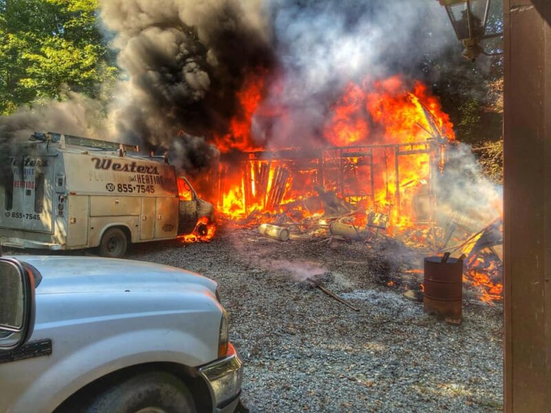 State Fire Marshal Investigating Garage and Vehicle Fire in Sunderland, No Injuries Reported