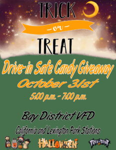 Safe Drive-Through Candy Giveaway to be Hosted on Halloween at the Bay District Volunteer Fire Departments in California and Lexington Park
