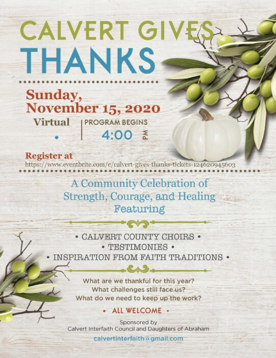 "Calvert Gives Thanks"" 2020 to be Held Virtually on Sunday, November 15"