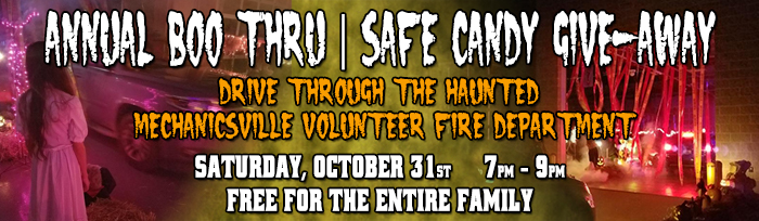 Annual Boo Thru Safe Candy Giveaway to be Hosted on Halloween at the Mechanicsville Volunteer Fire Department