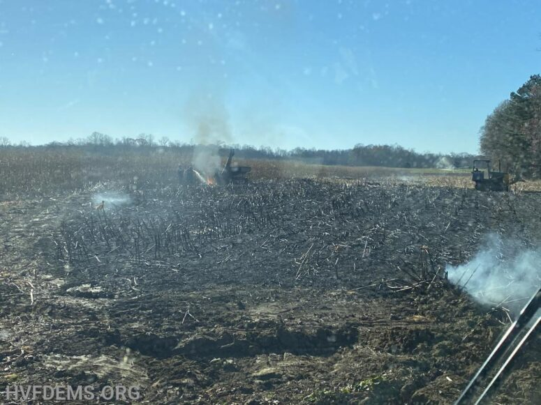 Firefighters from Charles and St. Mary's County Respond to Farm Equipment, Corn Field and Woods on Fire in Charlotte Hall