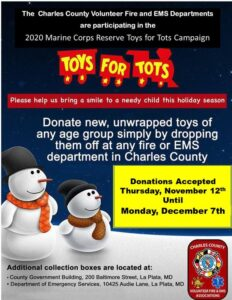 Toys For Tots Drop Off Locations at Charles County Fire/EMS Stations Until December 7, 2020