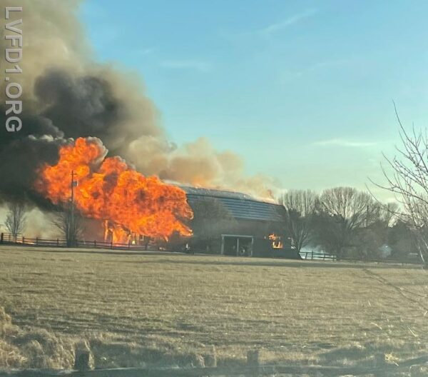 State Fire Marshal Investigating Large Barn Fire in Leonardtown, No Injuries Reported
