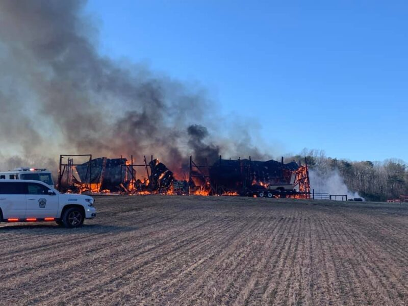 Firefighters Respond to Large Barn Fire in St. Leonard