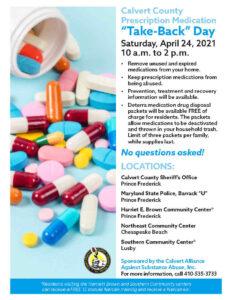 "Calvert County Prescription Drug ""Take-Back"" Day on Saturday, April 24, 2021"