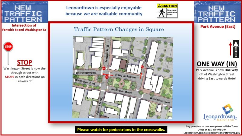 Leonardtown Square New Traffic Patterns and Signs