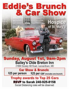 """Olde Breton Inn and Bailey's Catering Hosting """"Eddies Brunch and Car Show"""" on Sunday, August 1, 2021 to Benefit Hospice St. Mary's!"""