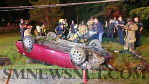 VIDEO: Two Flown to Area Trauma Center After Single Vehicle Rollover in Lexington Park