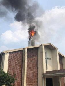 Lightning Strikes Steeple of Church in Waldorf