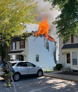 2-Alarm Townhouse Fire in Waldorf Under Investigation, One Firefighter Transported with Minor Injuries