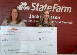Calvert Hospice Receives $700 Donation from Jackie Gibson of State Farm