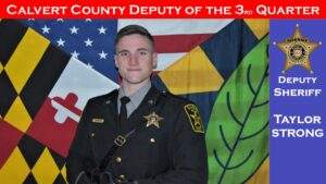Calvert County Sheriff's Deputy T. Strong Recognized as Deputy of the Quarter