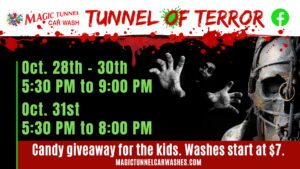 Magic Tunnel Car Wash in Prince Frederick Transforms Into Tunnel of Terror This Halloween for a Spooktacular Time!