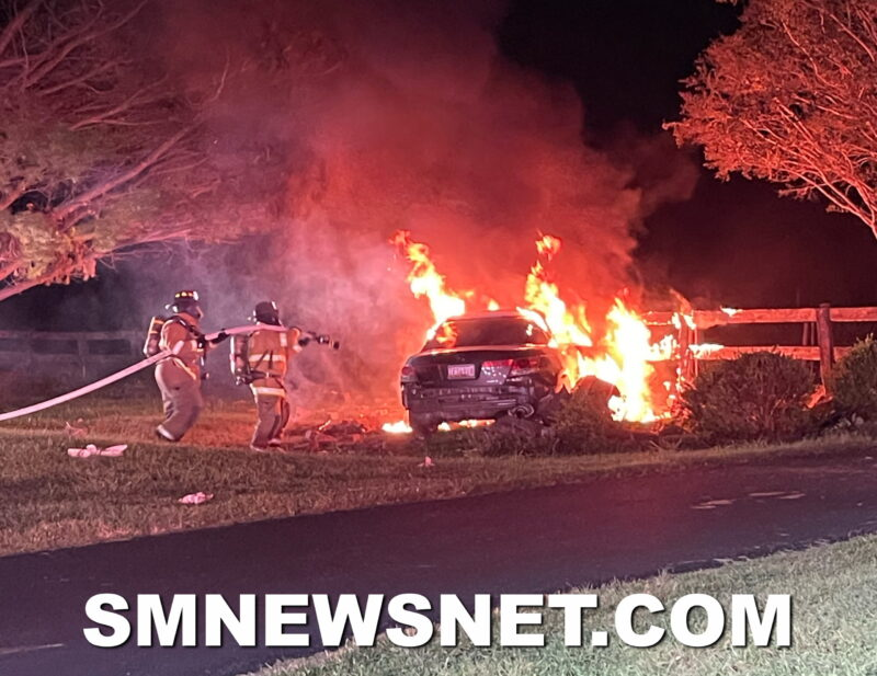 Suspected Impaired Driver Injured After Motor Vehicle Collision and Fire in California